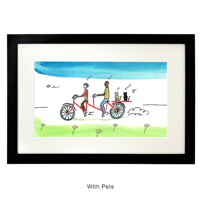 Personalized Couple Tandem Bike Art 2