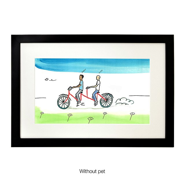 Personalized Couple Tandem Bike Art 3