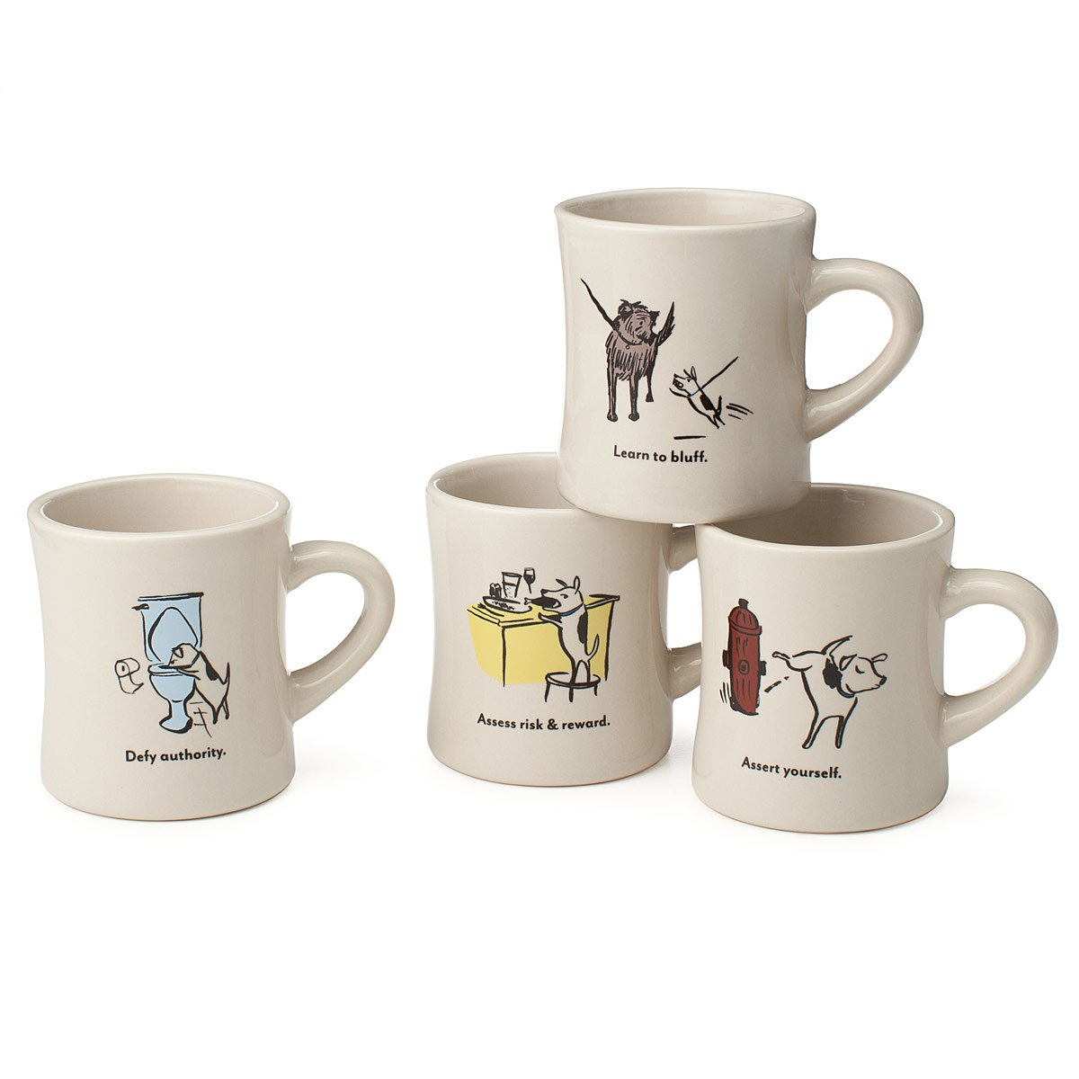 Coffee mugs unique - Bad Dog Wisdom Diner Mugs Set Of 4