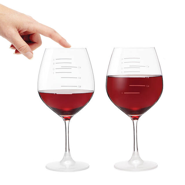 Major Scale Musical Wine Gles Set Of 2 Etched Red