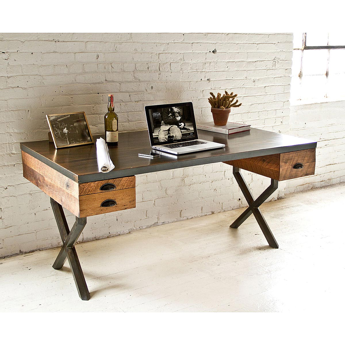 Walter Desk Wood Metal Work Table UncommonGoods - Reclaimed wood work table