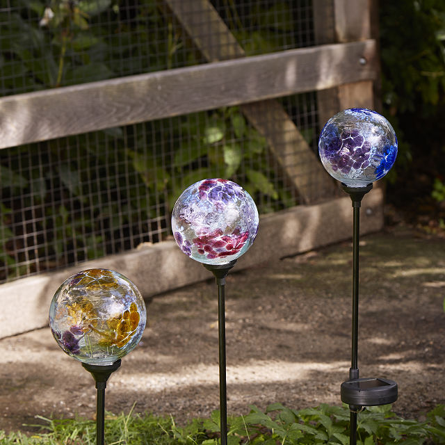 solar light garden stake flower globes garden art glass globe