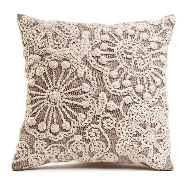 Hand-Embroidered Accent Pillow