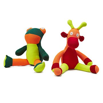 Repurposed Sweatshirt Plush Giraffe and Frog