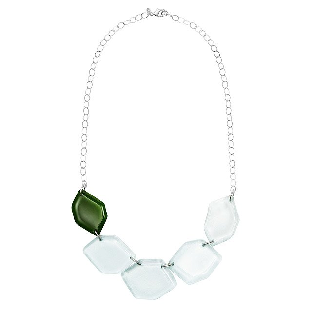 Recycled Glass Hexagon Necklace