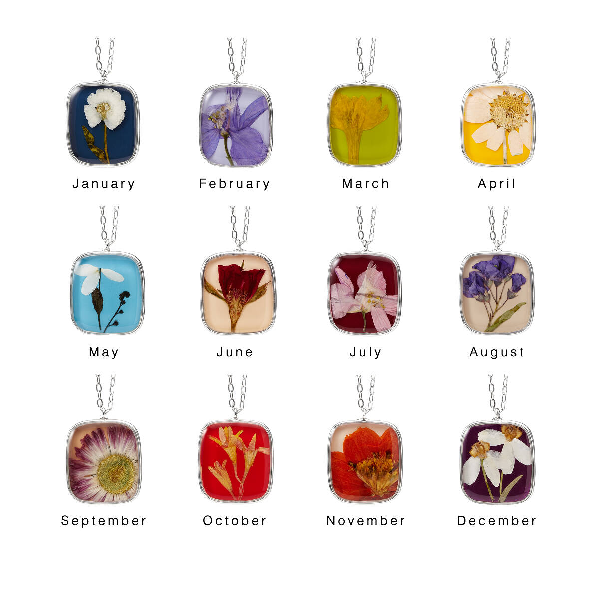 birth month flower necklace  pressed flowers, birth flowers, Beautiful flower