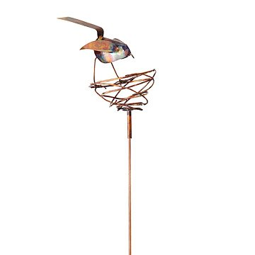 Bird and Nest Copper Garden Stake
