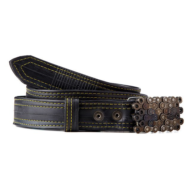 Bike Tube Belt with Layered Chain Buckle