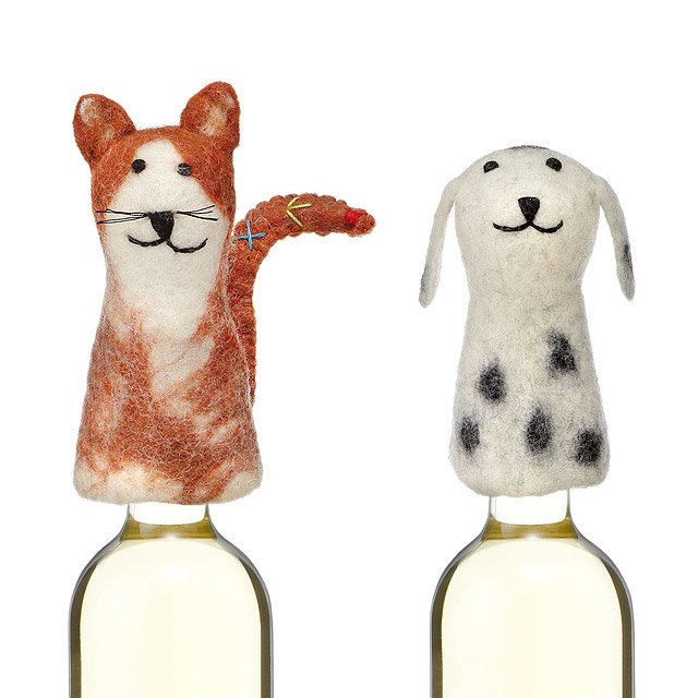 Cat and Dog Felt Bottle Toppers