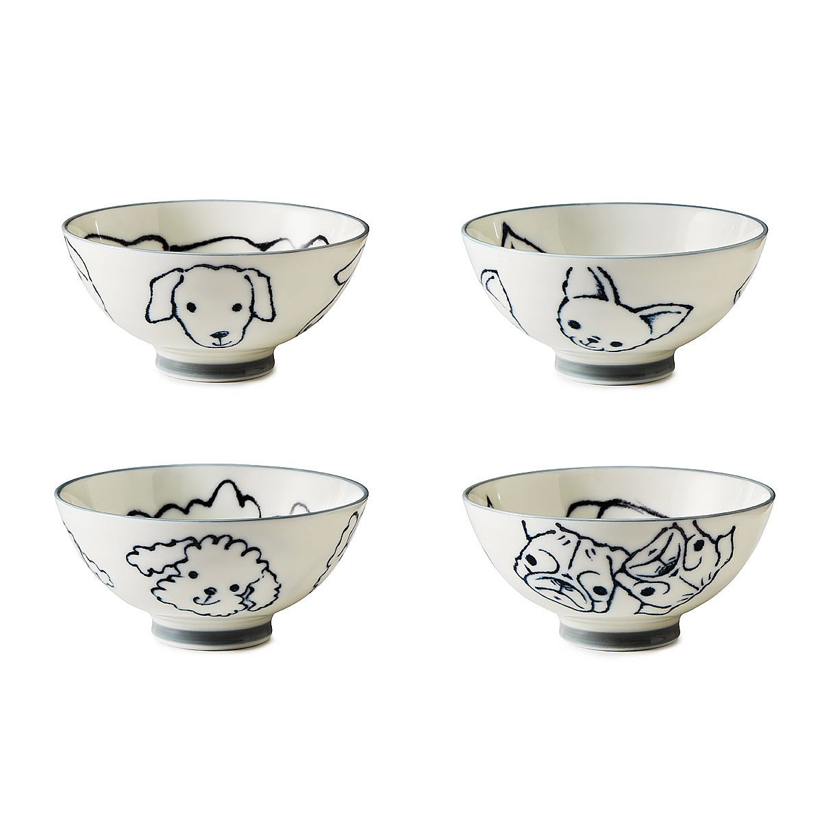set of 4 bowls dogs