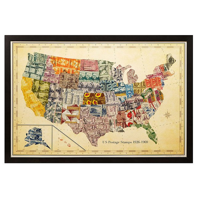 Stamp Map USA   stamp collector   UncommonGoods