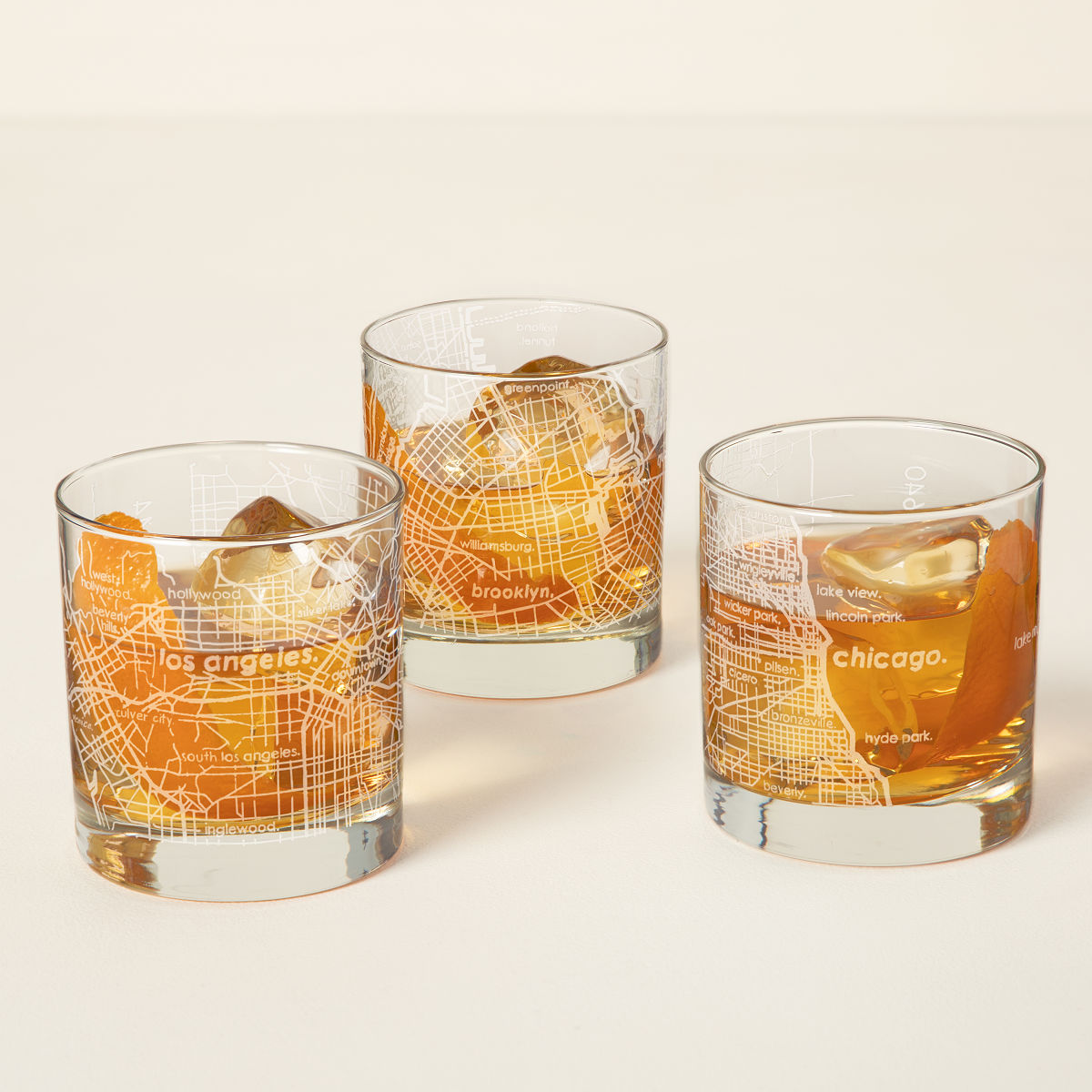 City Map Glasses Urban Map Glass | NYC Rocks Glass, Chicago | UncommonGoods