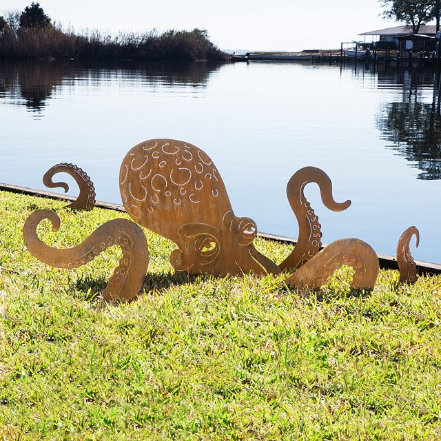 Octopus Garden Sculpture garden stake monster sculpture dragon