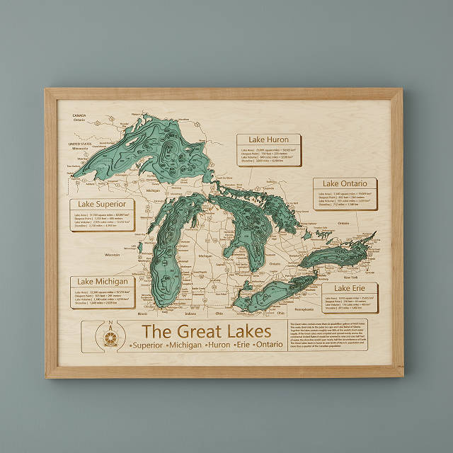 Chesapeake Bay Topographic Map.Lake Topography Art Hand Crafted Lake Map Topography Art