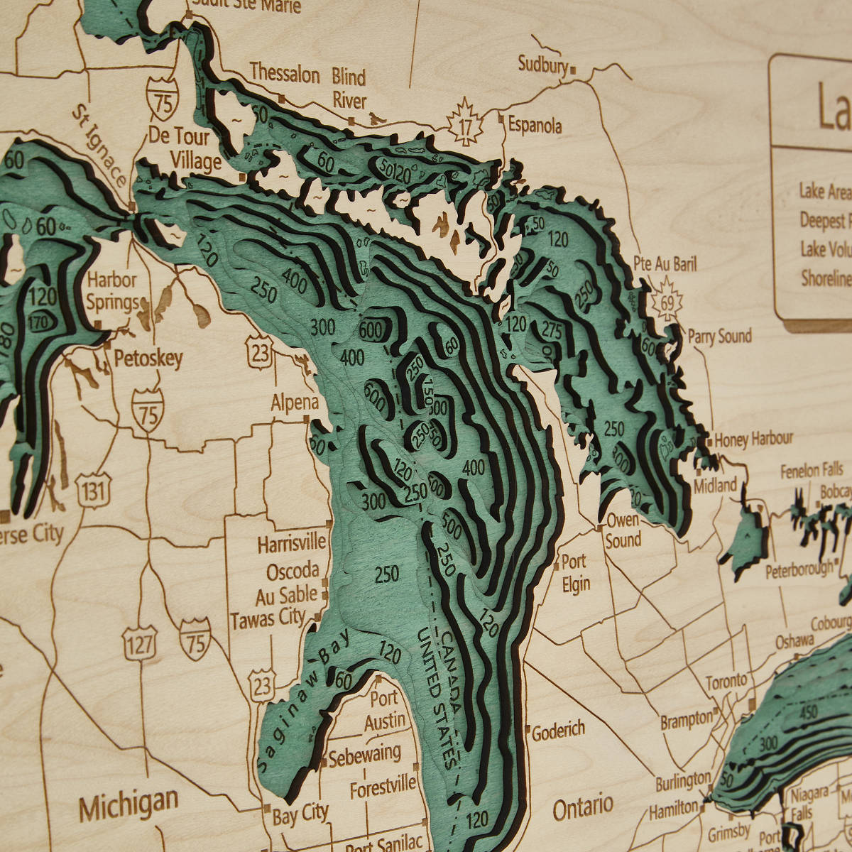 Lake Topography Art Hand Crafted Lake Map Topography Art - 3d topographical map of us