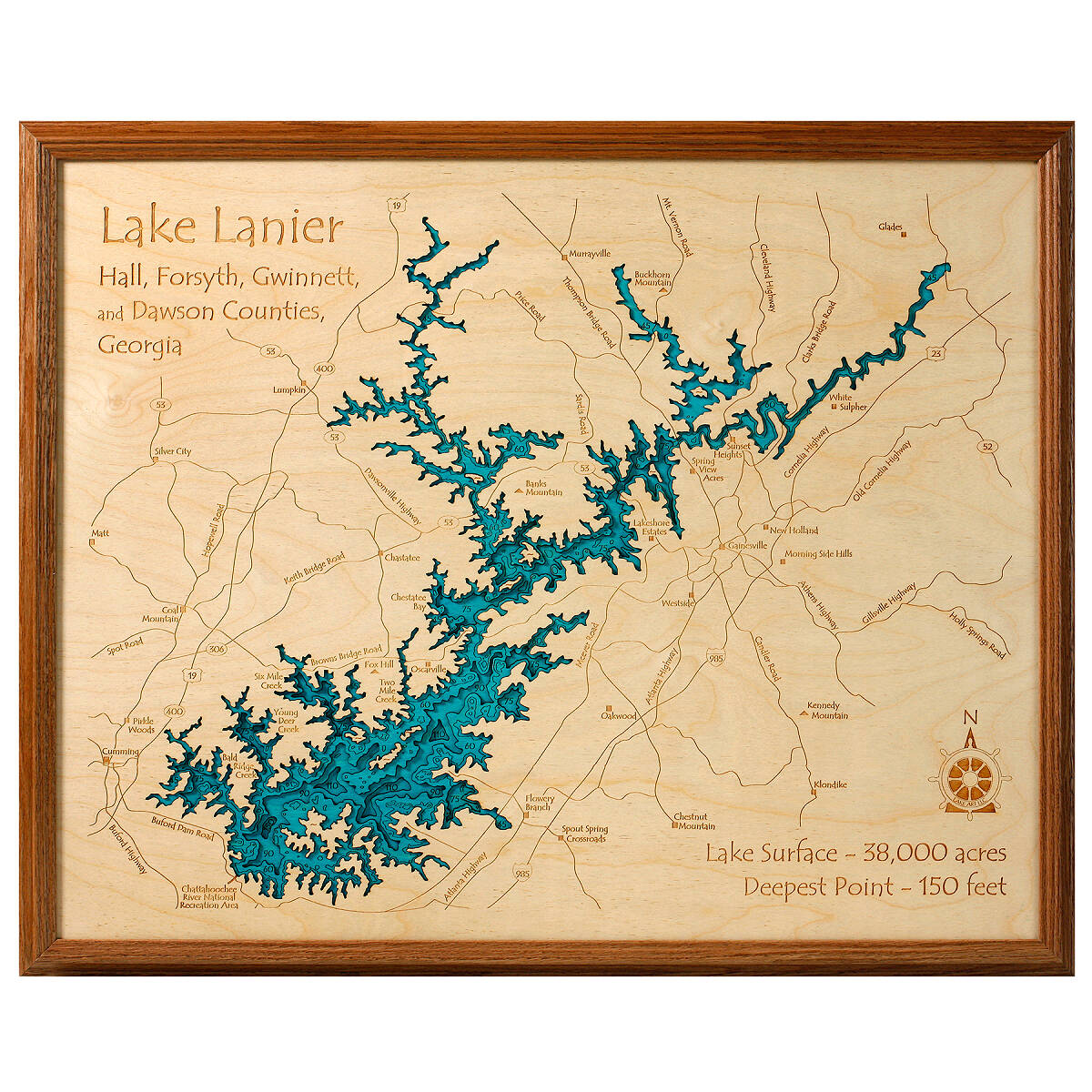 Lake Topography Art | Hand crafted lake map topography art ...