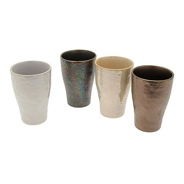 Metallic Stoneware Cups - Set of 4