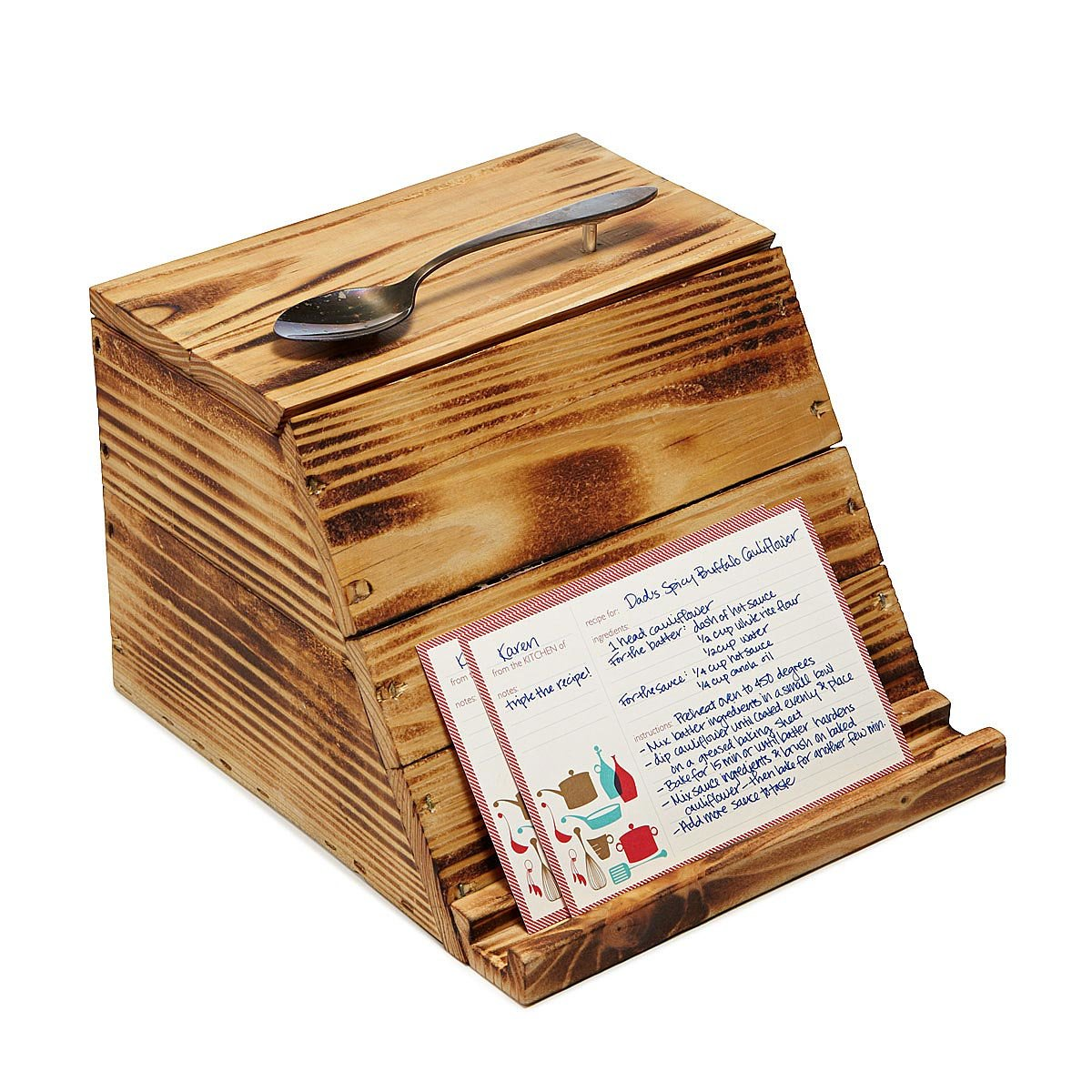 Pallet wood recipe box reclaimed wood recipe card holder pallet wood recipe box 1 thumbnail thecheapjerseys Image collections