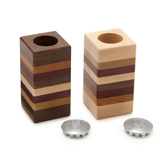 Layered Wooden Salt and Pepper Shaker Set 2