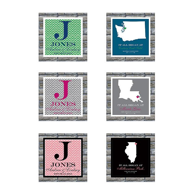 'It All Began' Couple Map and Monogram Set