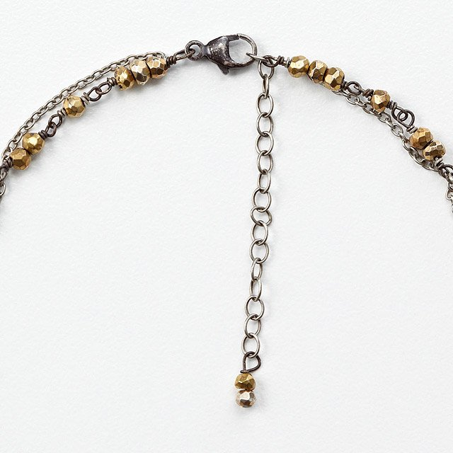Hammered Oval with Pyrite Necklace 2