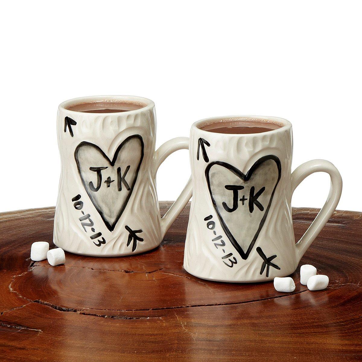 personalized porcelain faux bois mug set  ceramic coffee cups  - personalized porcelain faux bois mug set  thumbnail