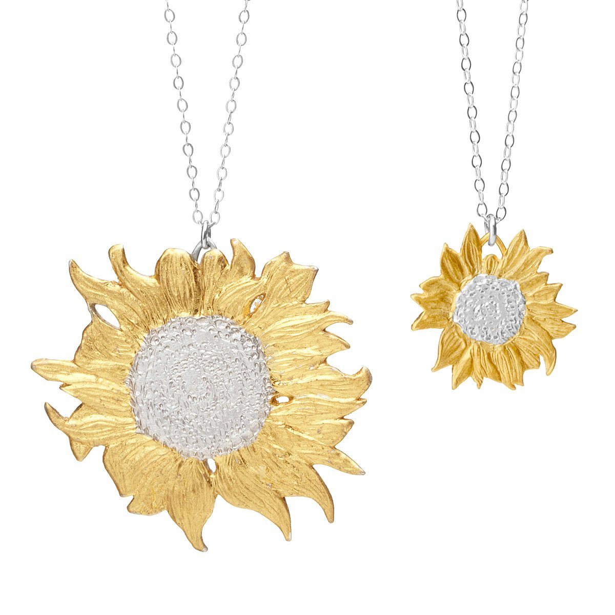 Golden sunflower necklaces gold silver flower pendant golden sunflower necklaces 2 thumbnail aloadofball Image collections
