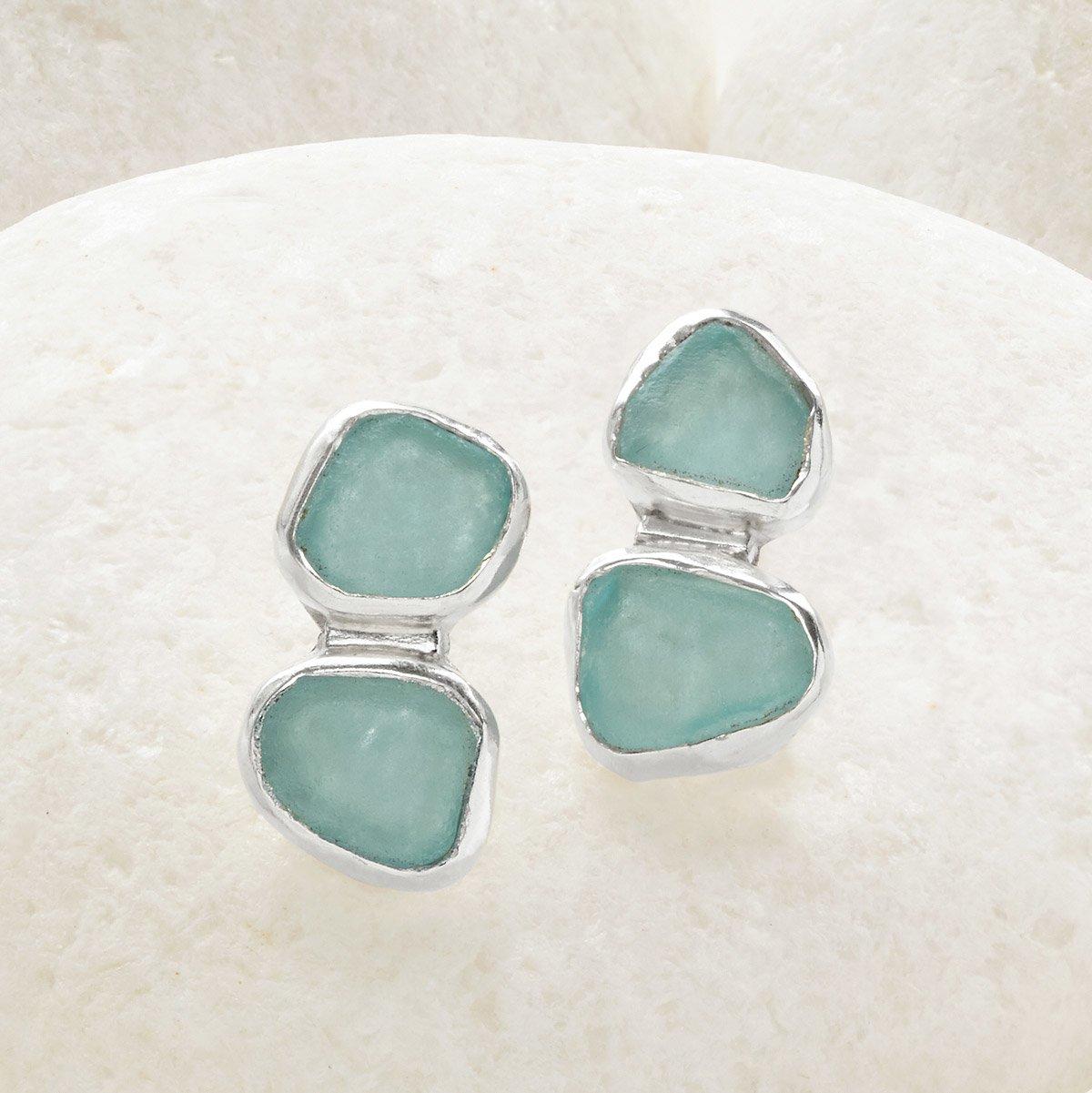 2 Stone Sea Glass Stud Earrings