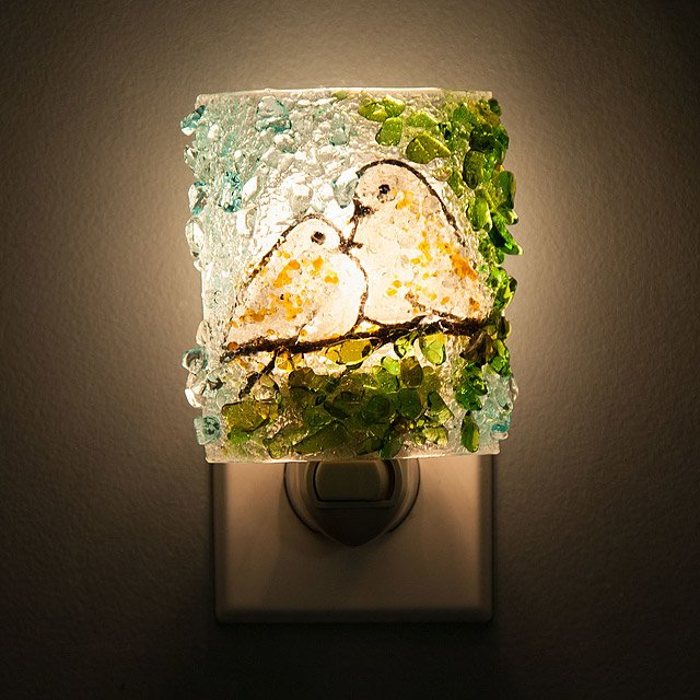Recycled Glass Doves Night Light 2