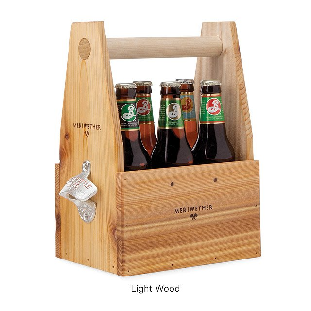 Wooden Beer Tote with Bottle Opener 2
