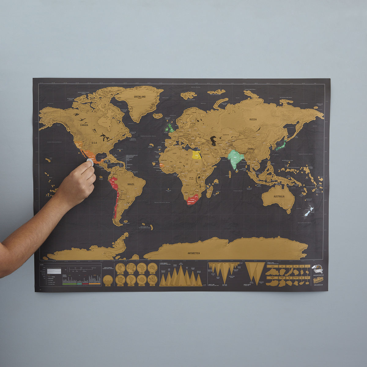 Scratch Map Deluxe ScratchOff Wall Maps UncommonGoods - Framed scratch world map