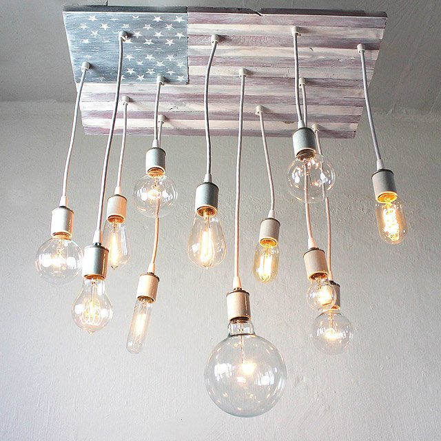 American flag chandelier usa lighting industrial edison bulb american flag chandelier mozeypictures Image collections