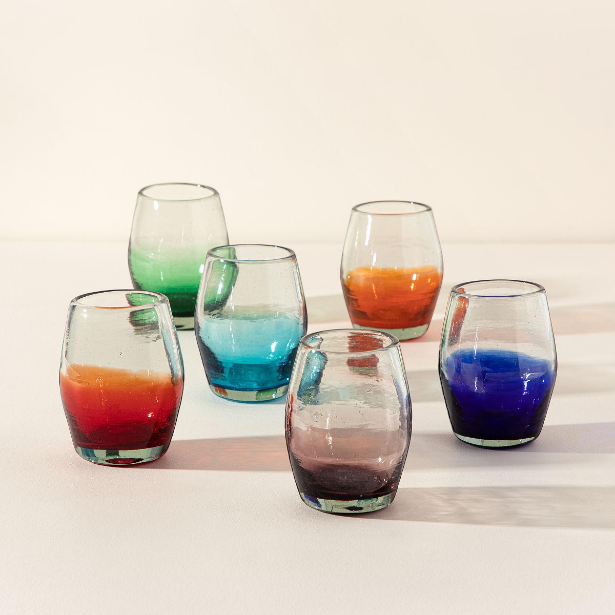 hand blown wine glasses web stemless wine glass set hand blown drinking glasses