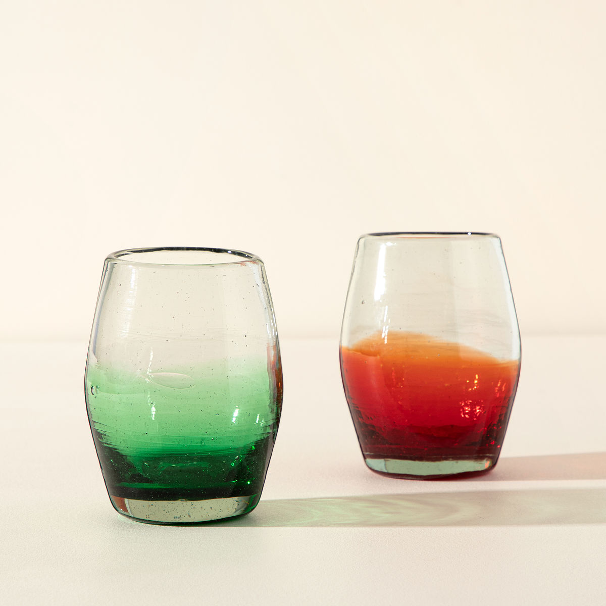multicolor ombre stemless wine glass set 2 thumbnail