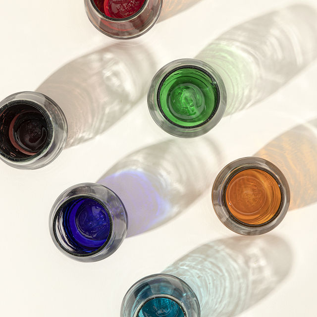 Multicolor Ombre Stemless Wine Glass Set