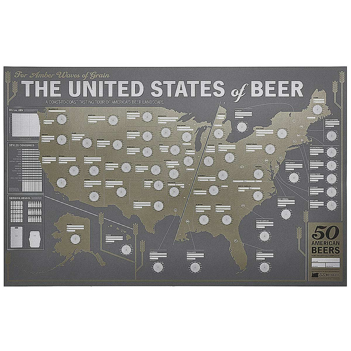 United States Beer Tasting Map Brewery Map Beer Tasting - Us beer cap map