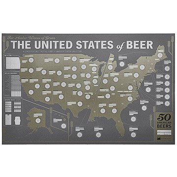 Beer Gifts for Him - Beer Tasting Map of the US