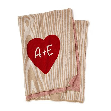 Personalized Faux Bois Sweetheart Throw