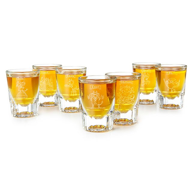 7 Deadly Sins Etched Shot Glasses   Set Of 7 by Mort Gerberg