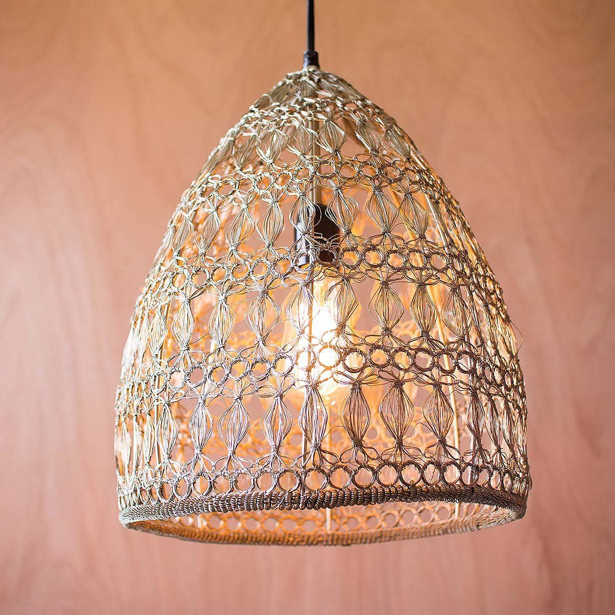 Crochet Wire Pendant Lamp 2 Thumbnail