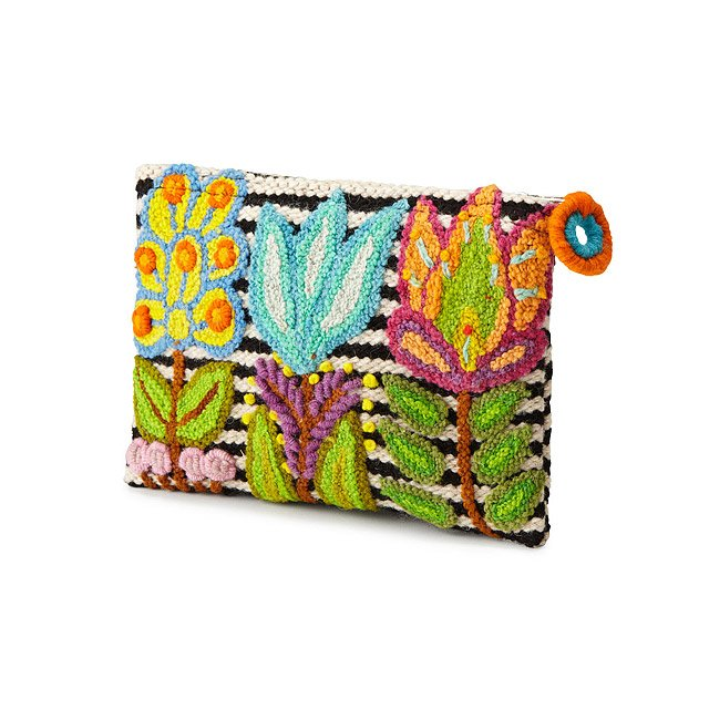 Embroidered Floral Striped Pouch