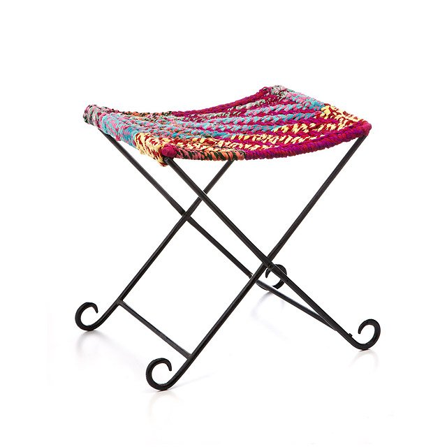 Outstanding Sari Folding Stool Upcycled Sari Cloth Chair Woven Machost Co Dining Chair Design Ideas Machostcouk