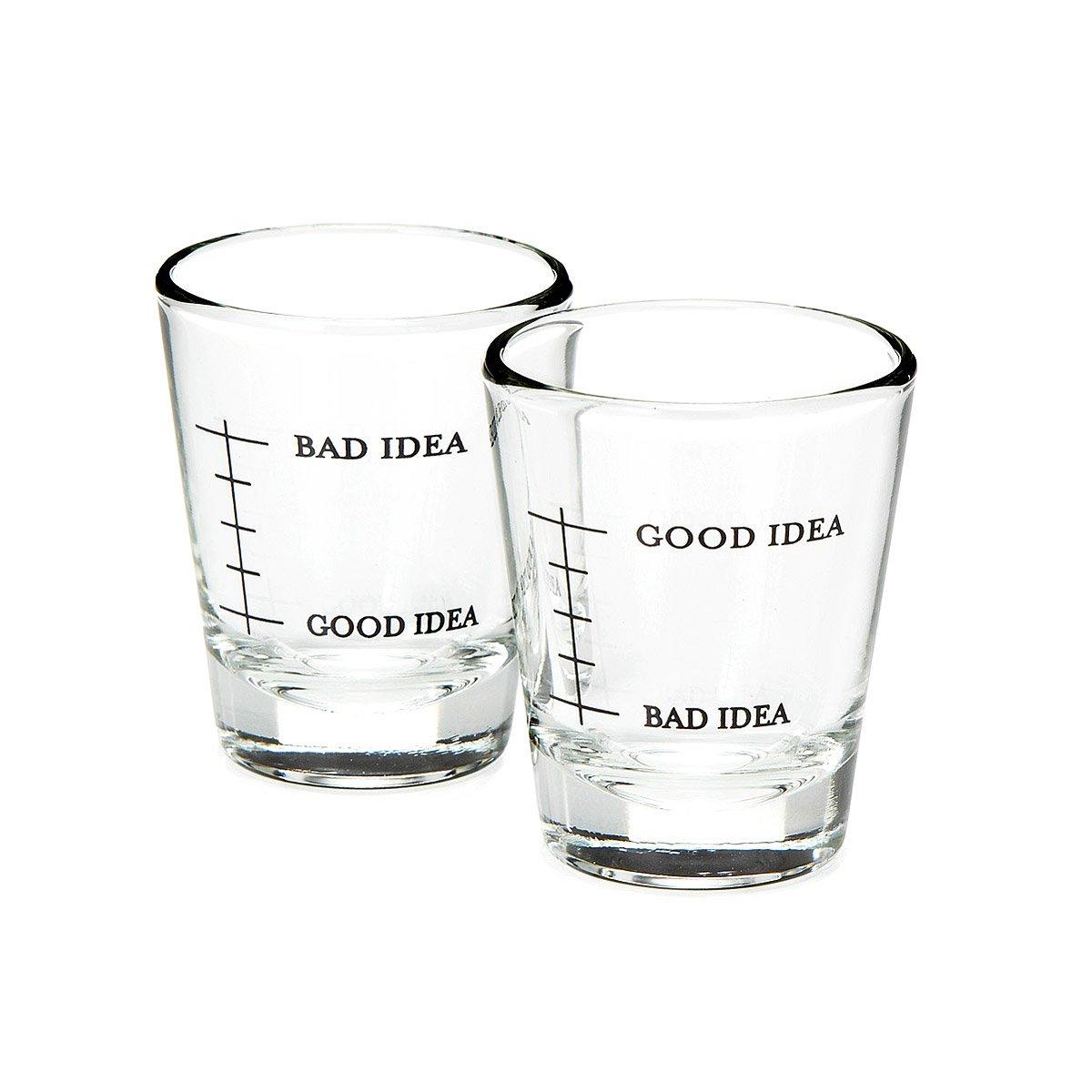bad idea good idea shot glasses set of 2