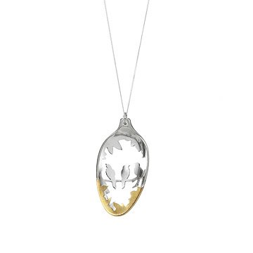 Silver Spoon Diorama Birds Necklace