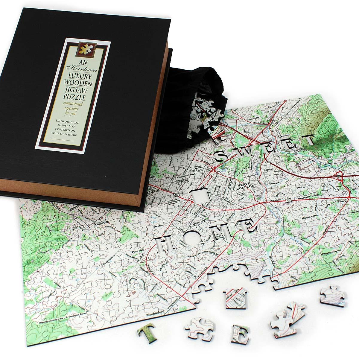 Custom Street Map Puzzle Custom Jigsaw Puzzle Wooden Map - Us jigsaw map wood