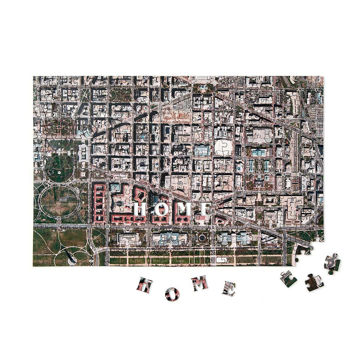 Custom Satellite Map Puzzle custom jigsaw puzzle wooden map