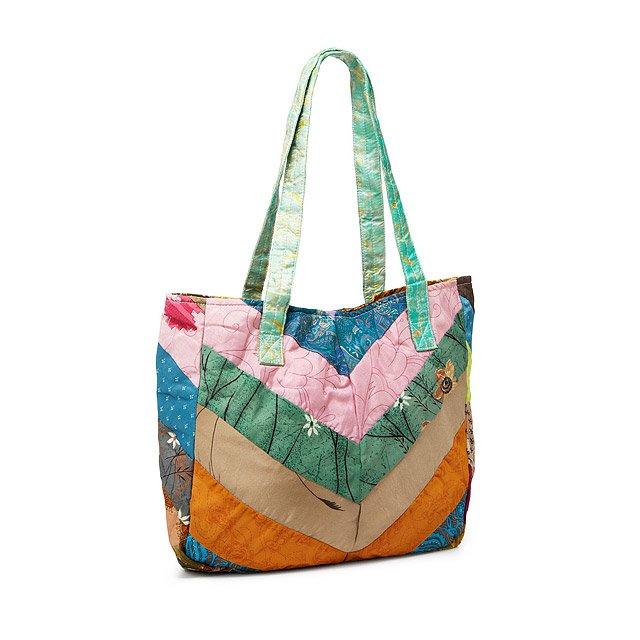 79f4343856f8 Upcycled Sari Chevron Bag