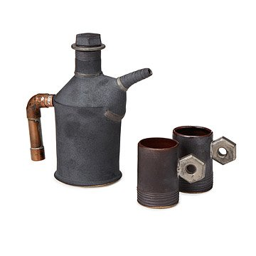 Oil Can Teapot and Nut Handle Tea Cups