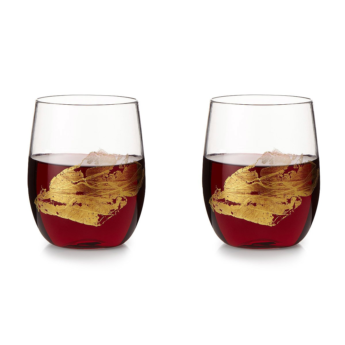 gold leaf stemless wine glass set 1 thumbnail