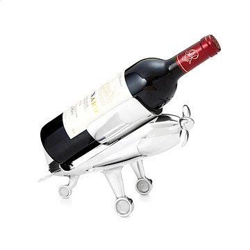 Airplane Bottle Holder with Corkscrew Propeller